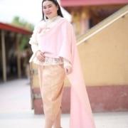 ชุดไทยสไบสีชมพู1